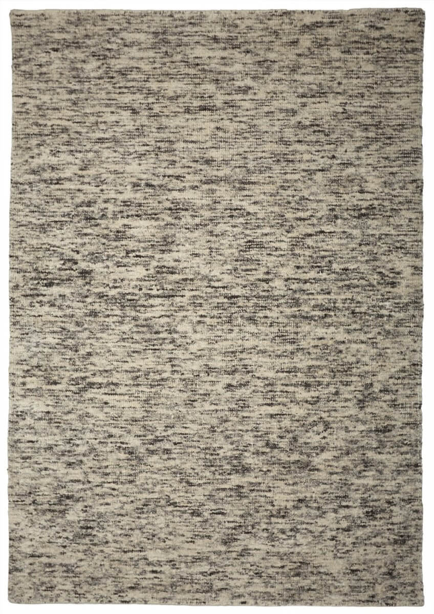 Carbon (Black and white) Modern wool rug