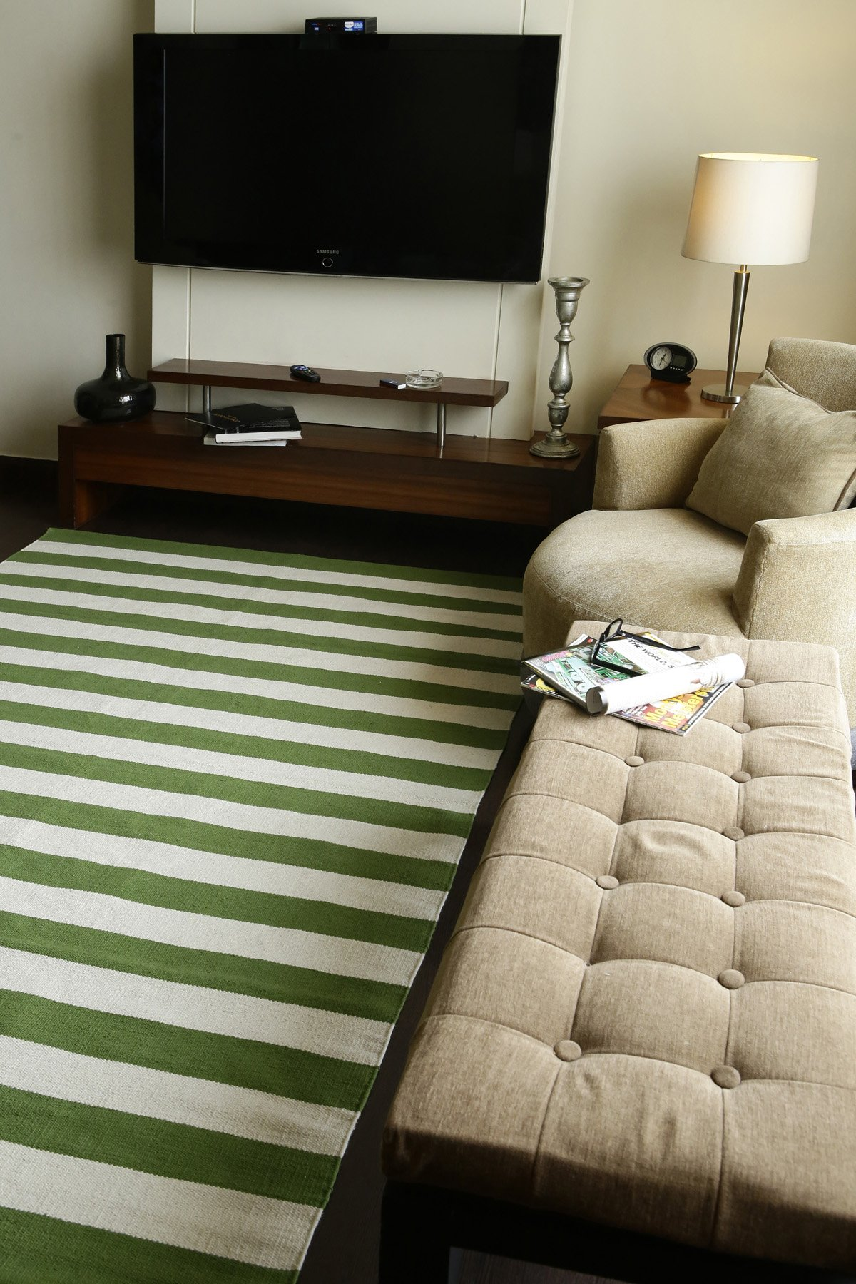Bands Green Flatweave Rug
