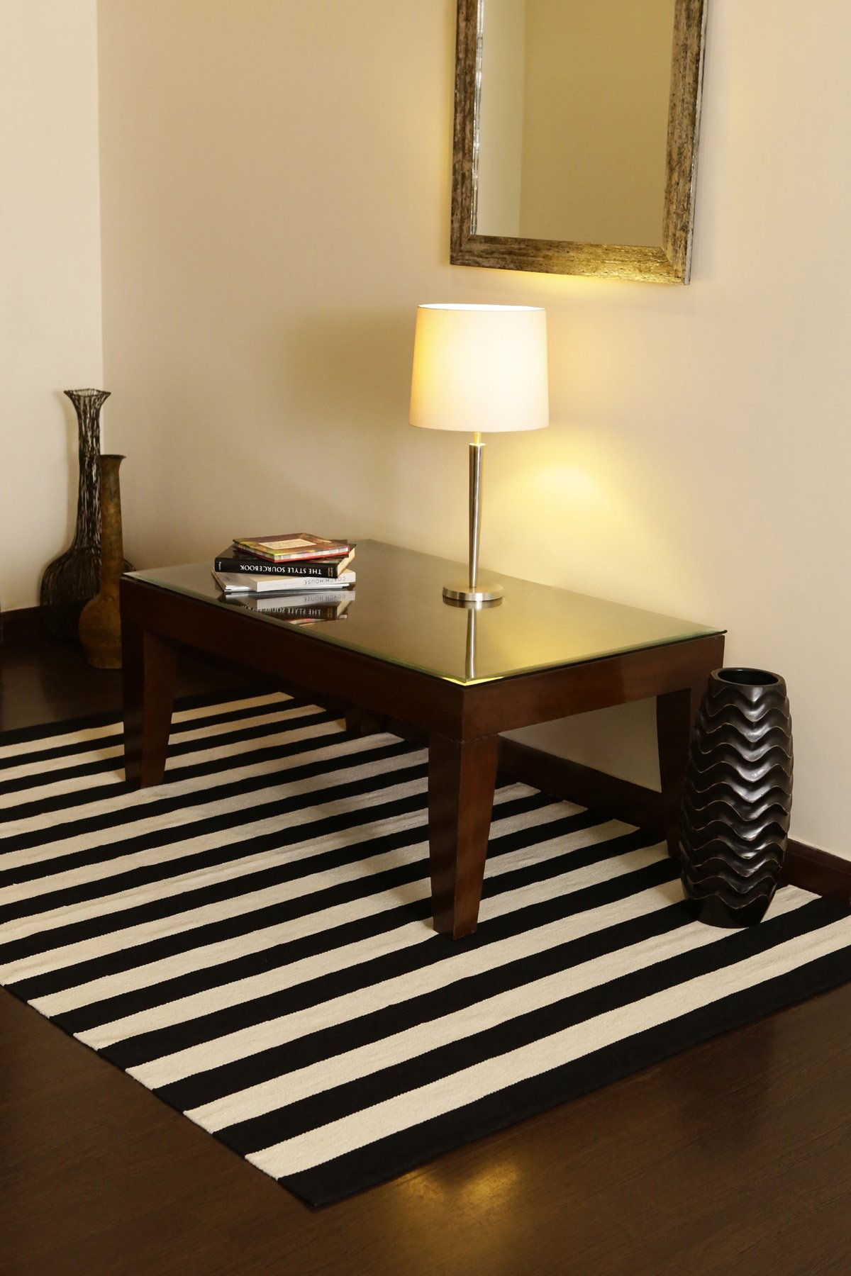 Bands Black Flatweave Rug