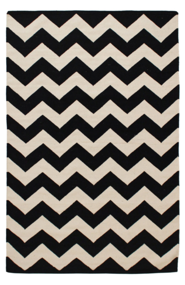 Black Chevron Cotton Rug