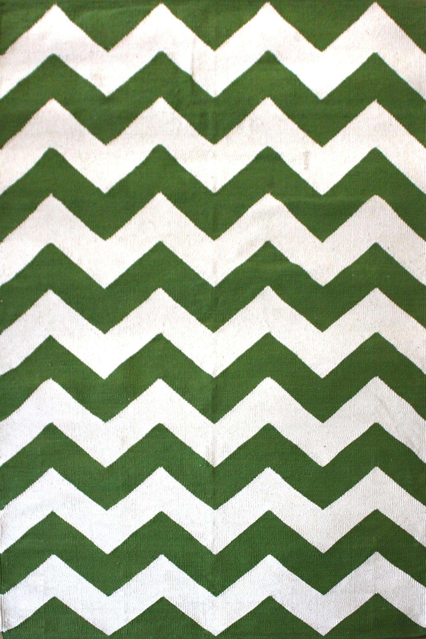 Chevron Green Flatweave Rug