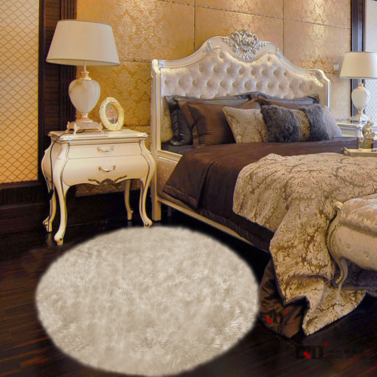 Faux Fur Cream Round Rug