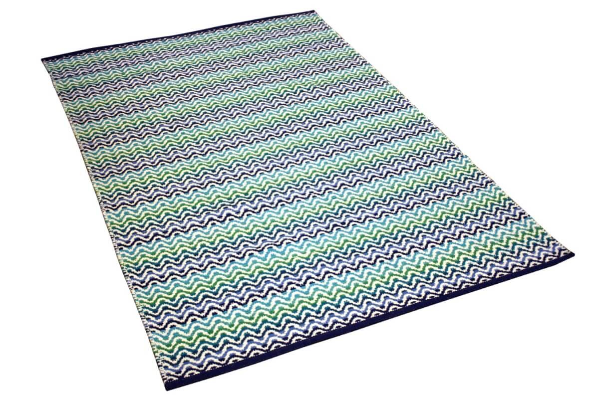 Tiskoni Blue Modern Cotton Rug