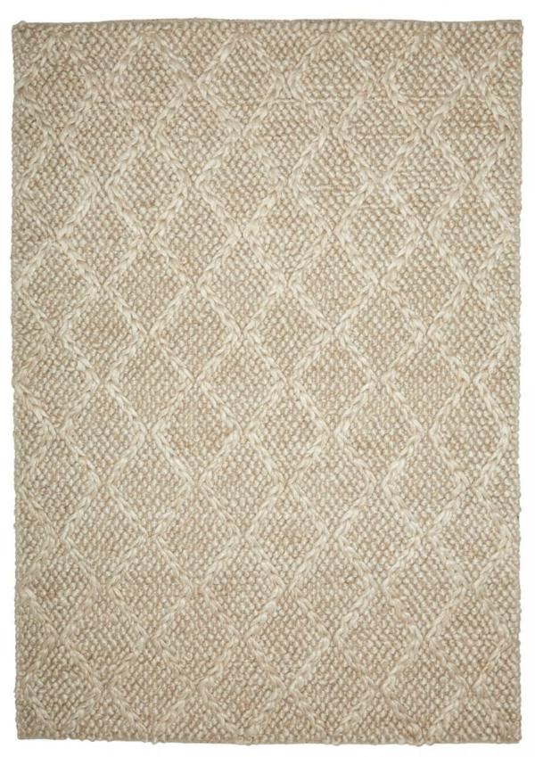 Bone (Beige) modern wool rug