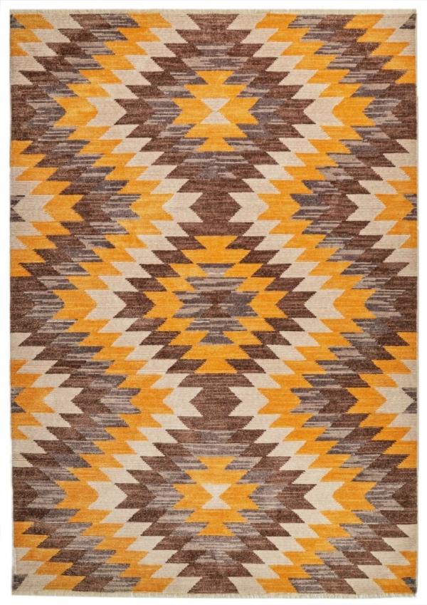 Grey-yellow modern rug