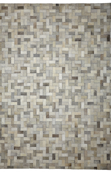 Steps (Ivory Grey) Cowhide Rug
