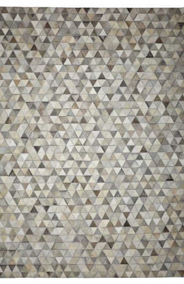 Triangles (Ivory Grey) Cowhide Rug