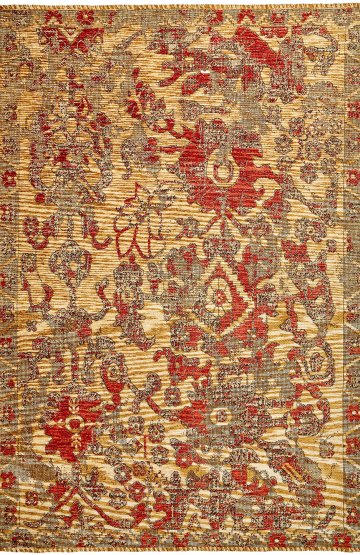 Beige-Orange traditional rug