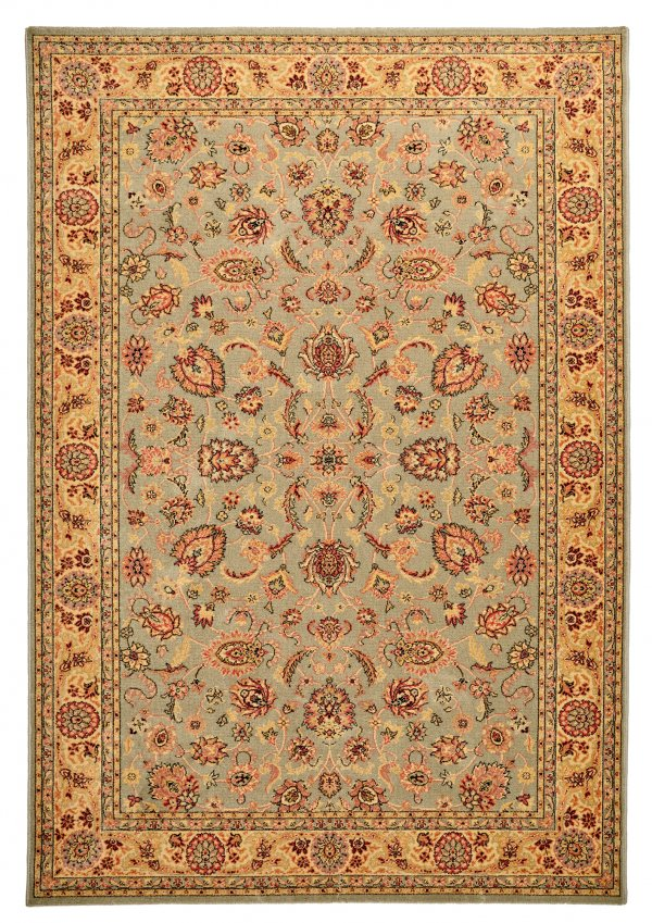 Green Floral Traditional wool rug