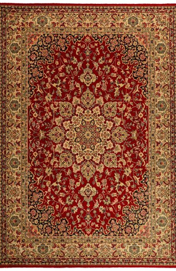 Red floral traditional wool rug